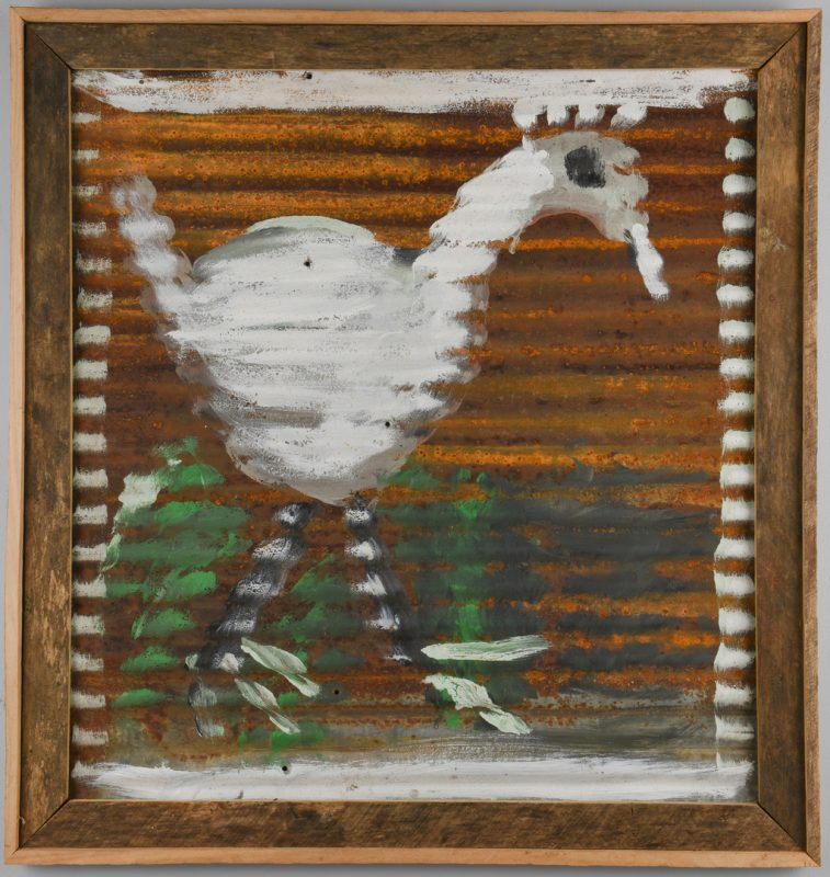 Lot 658: Jimmie Lee Sudduth, Acrylic on Tin, Bird