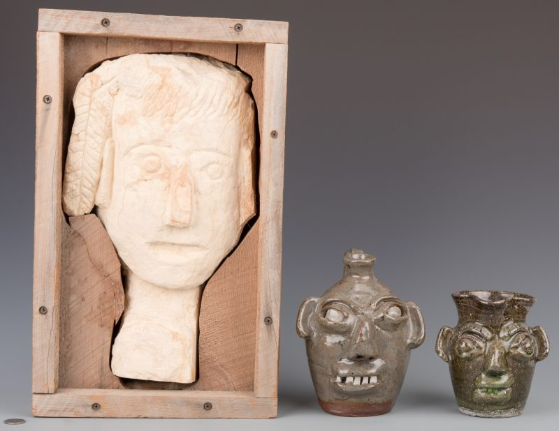 Lot 666: 2 Burlon Craig Folk Art Pottery Items and 1 Clay Head