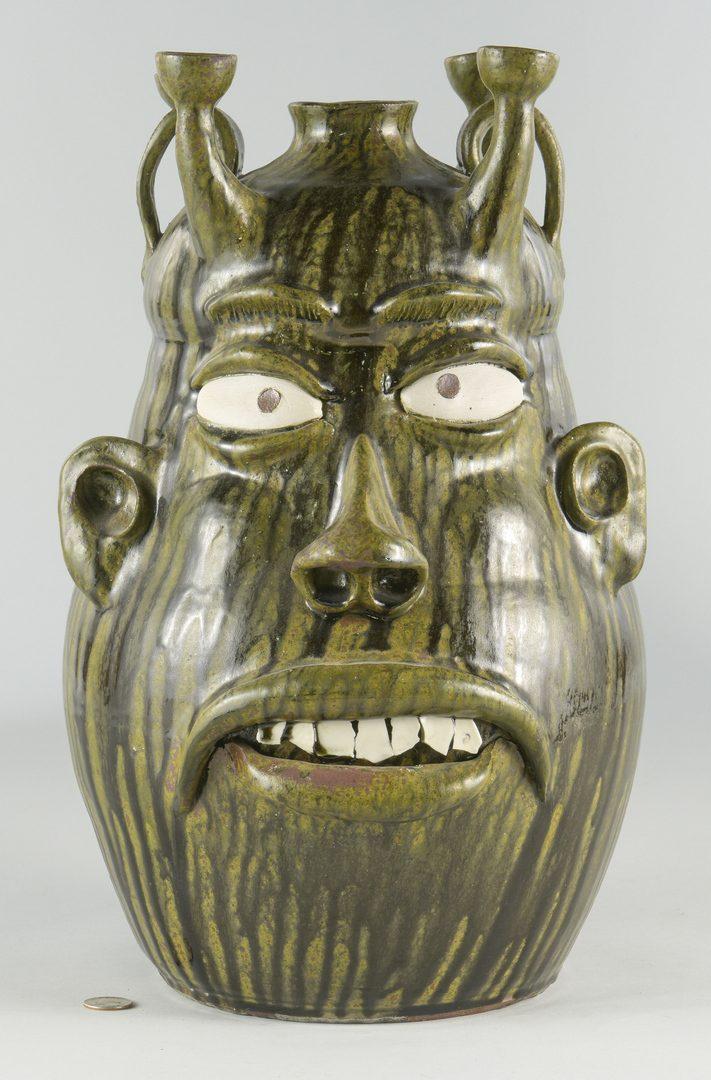 Lot 668: Large Wayne Hewell Pottery Candelabra Jug