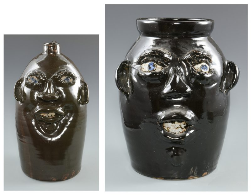 Lot 669: 2 Jerry Brown Alabama Face jugs