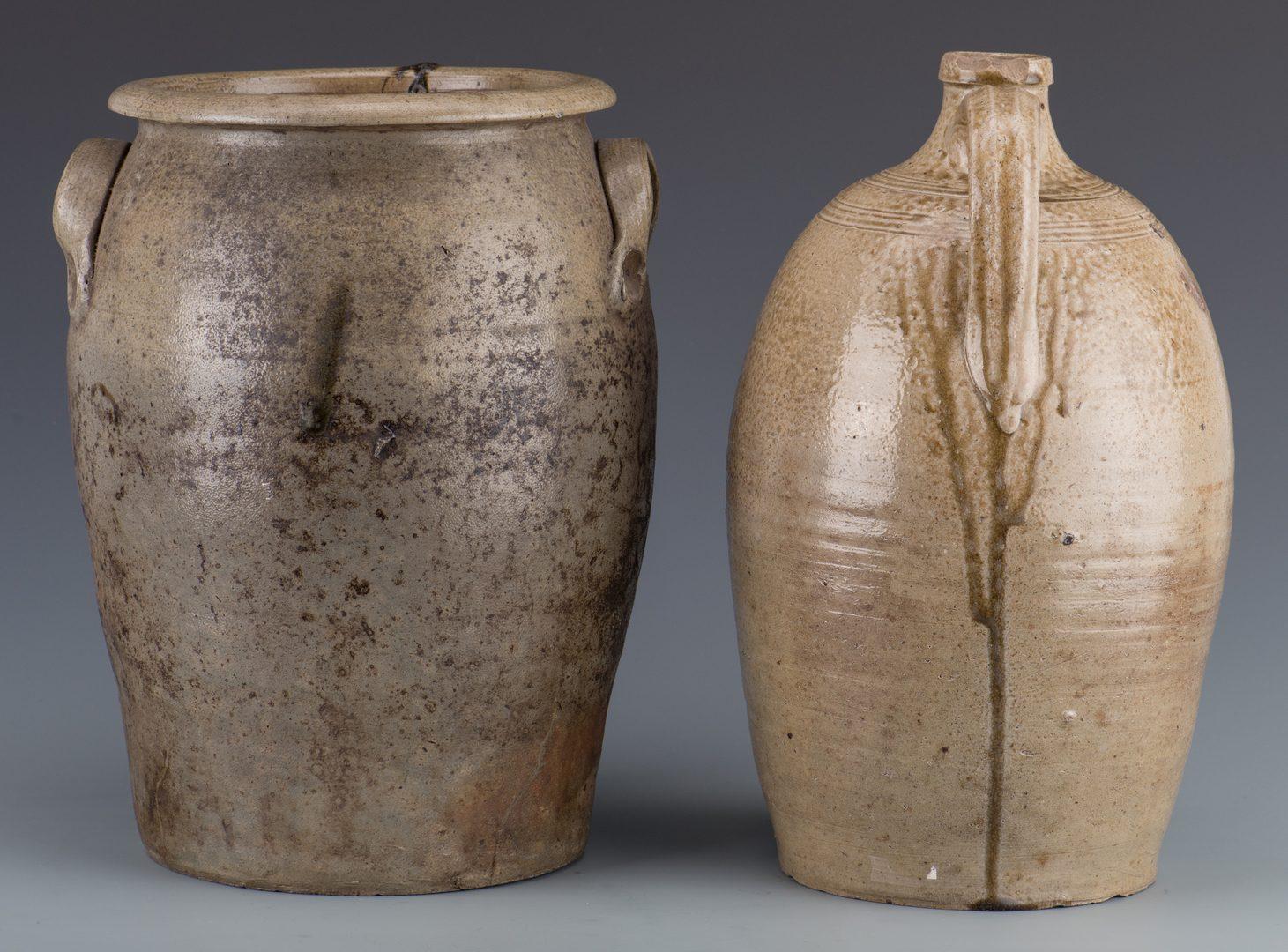 Lot 670: NC James Hays Stoneware Jar & Jug