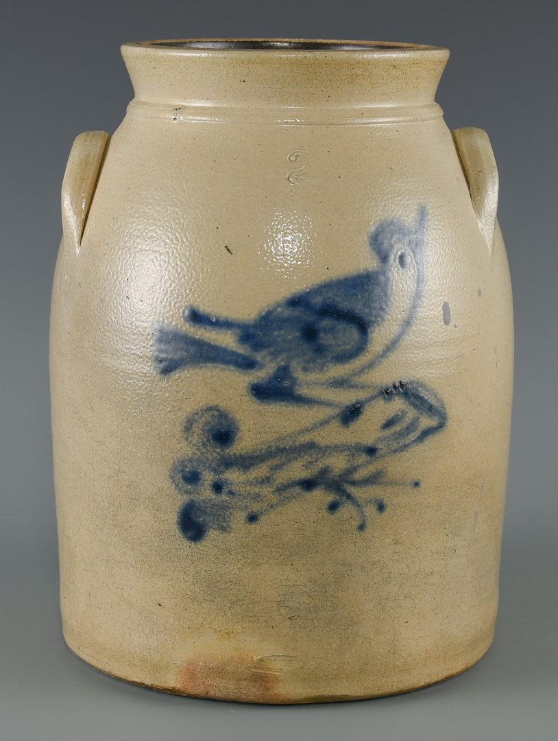 Lot 678: 3 New England Stoneware Items with cobalt