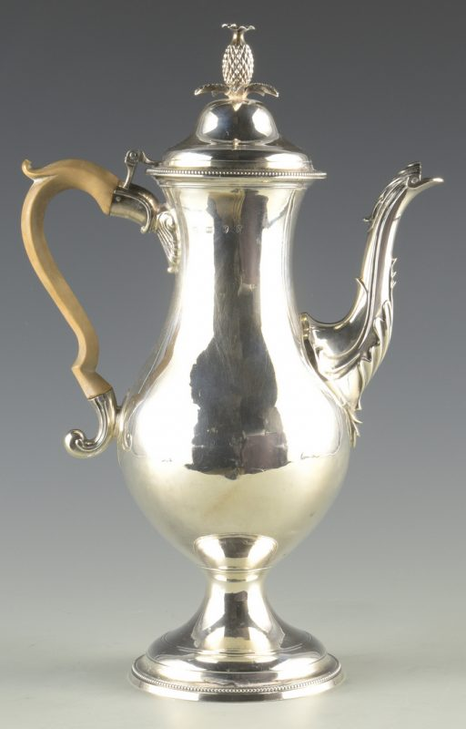 Lot 67: Geo. III Sterling Coffee Pot
