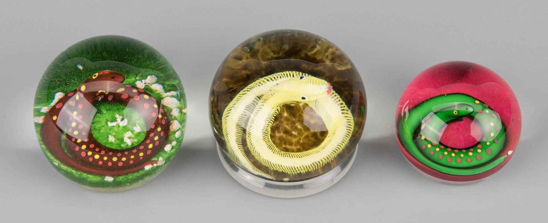 Lot 682: 3 Paul Ysart Paperweights, Coiled Snakes