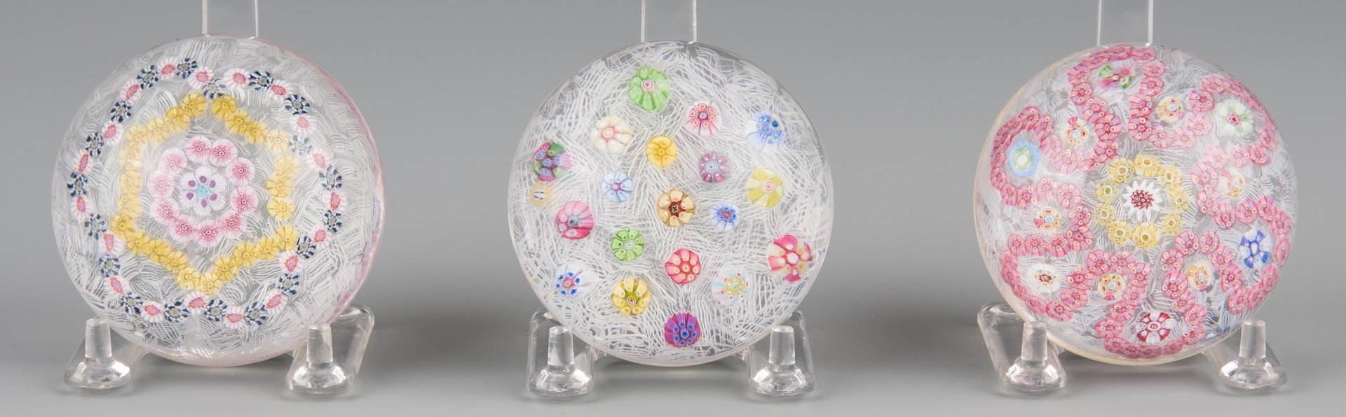 Lot 686: 3 Baccarat Millefiori Paperweights