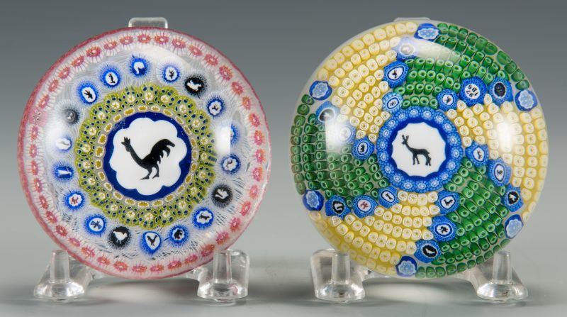 Lot 688: 2 Baccarat Gridel Paperweights, w/ Rooster & Deer
