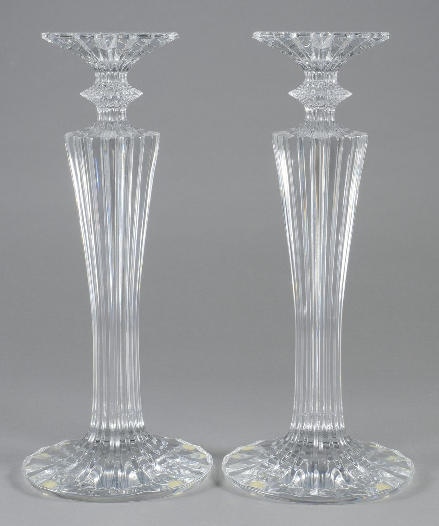 Lot 694: Pair of Baccarat Mille Nuit Candlesticks