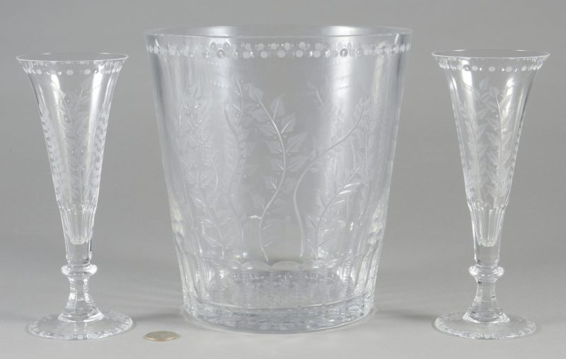"Lot 695: William Yeoward ""Fern"" Ice Bucket & 2 Flutes"