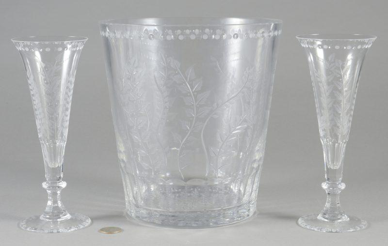 "Lot 695: William Yeoward ""Fern"" Ice Bucket & 2 Flutes"