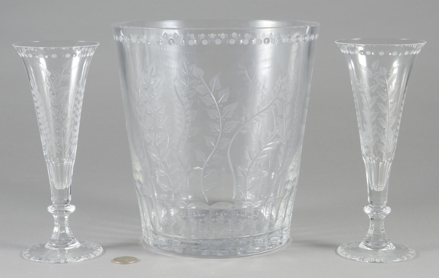 Lot 695 William Yeoward Quot Fern Quot Ice Bucket Amp 2 Flutes