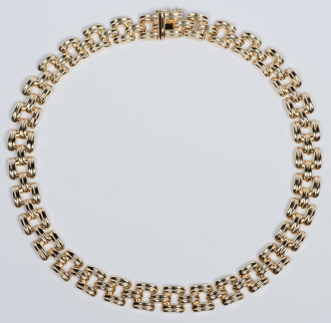 Lot 702: 14K Italian Collar Necklace, 32.9 g.