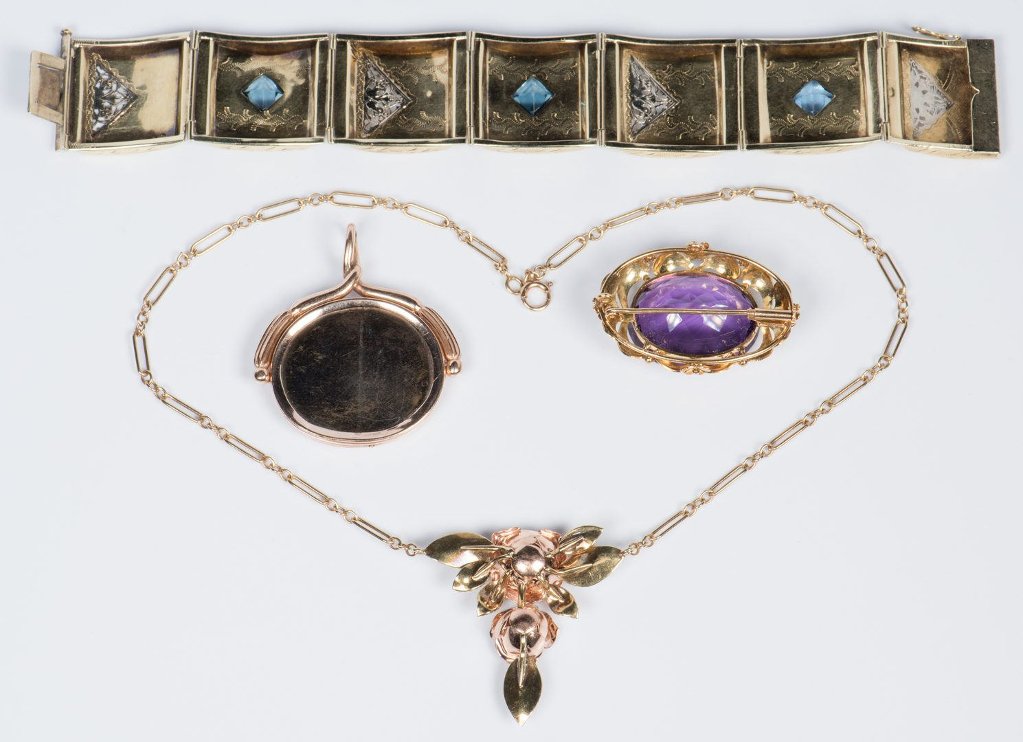 Lot 704: 14K, 10K Vintage style Jewelry