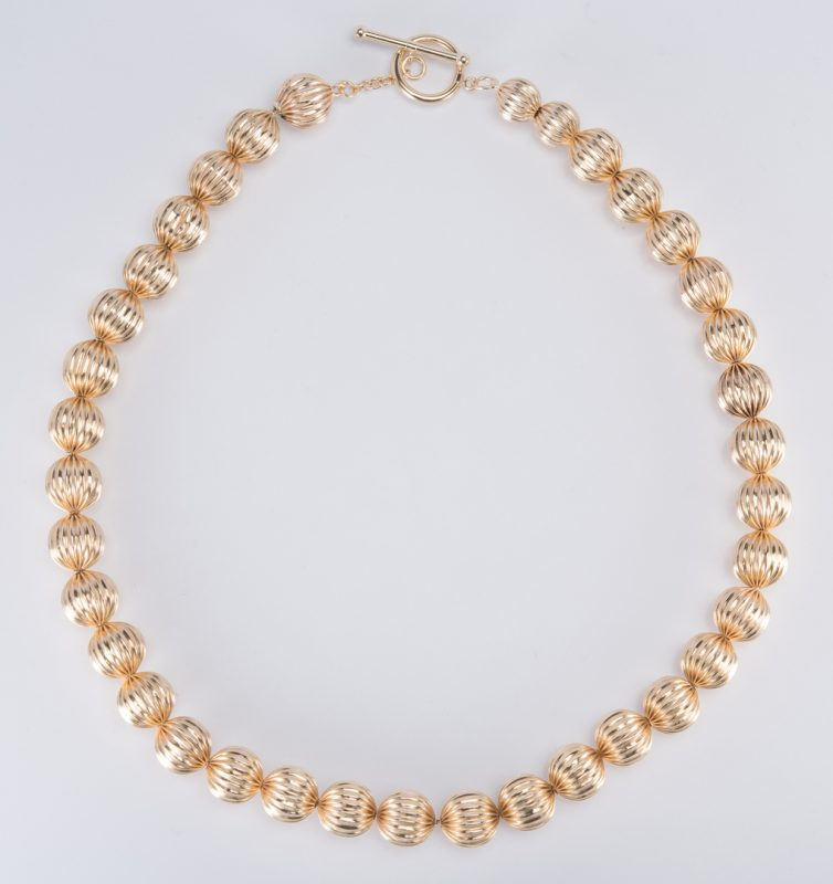 "Lot 706: 14K Bead Necklace, 17-1/2"" L"