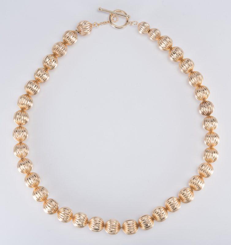 """Lot 706: 14K Bead Necklace, 17-1/2"""" L"""