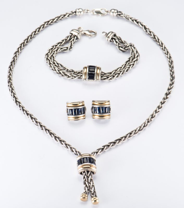 Lot 709: 3 Pc Ladies John Hardy Sterling 18K Jewelry