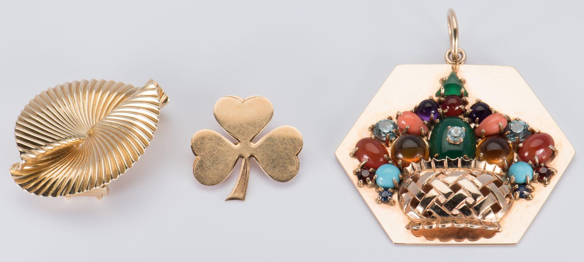 Lot 710: 14K Pins & Stone Flower Pendant