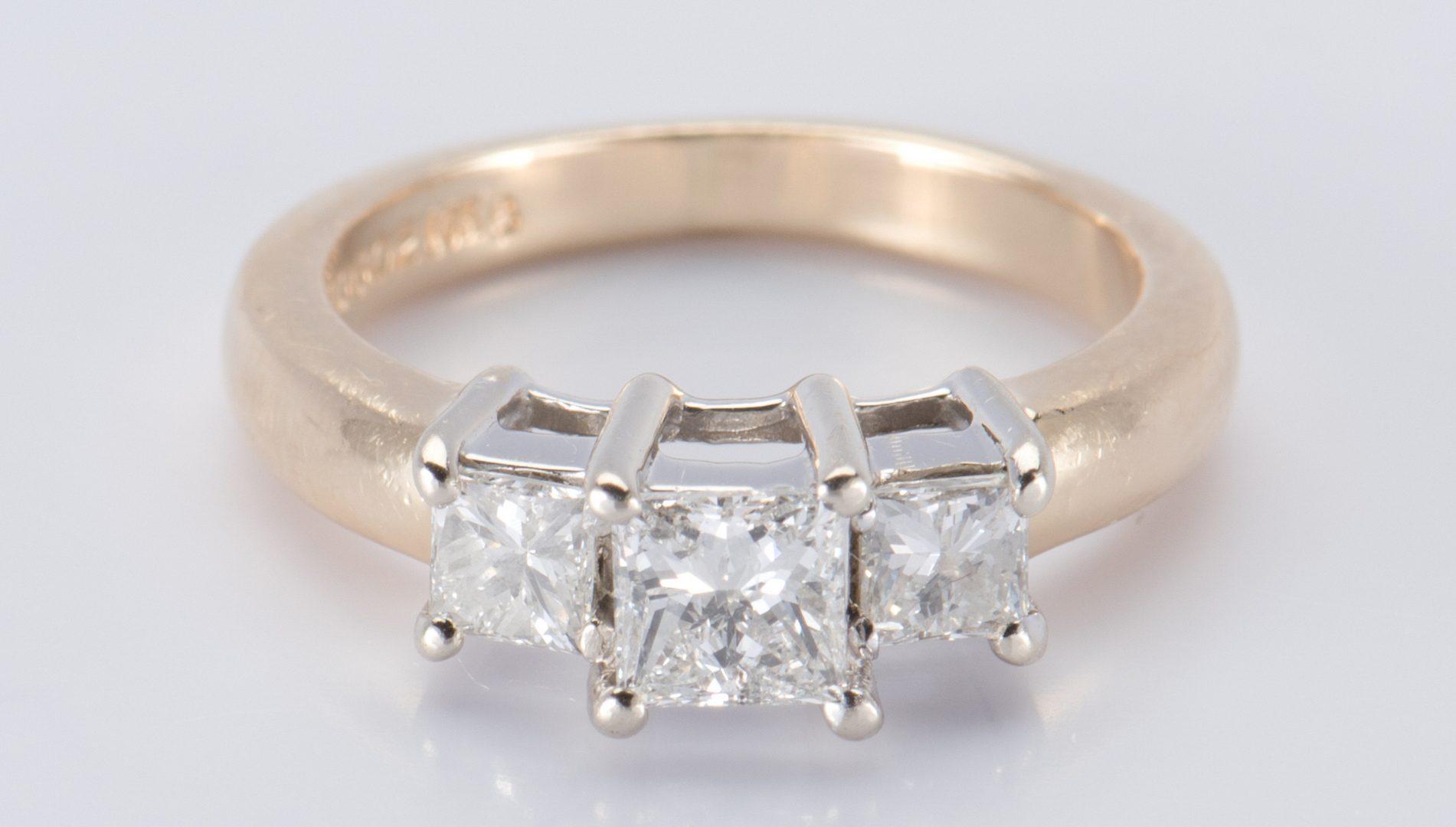 Lot 716: 14K 3 stone Princess Diamond Ring