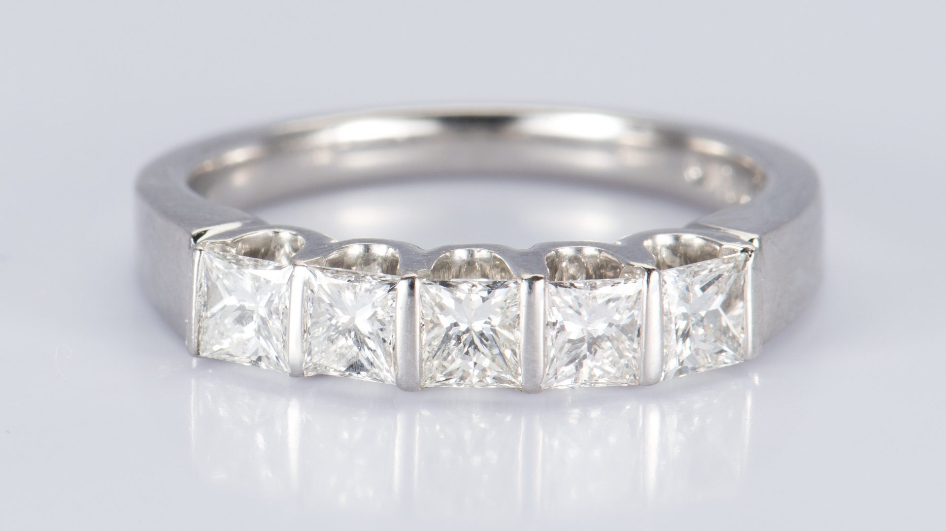 Lot 717: Platinum Princess cut Diamond Band