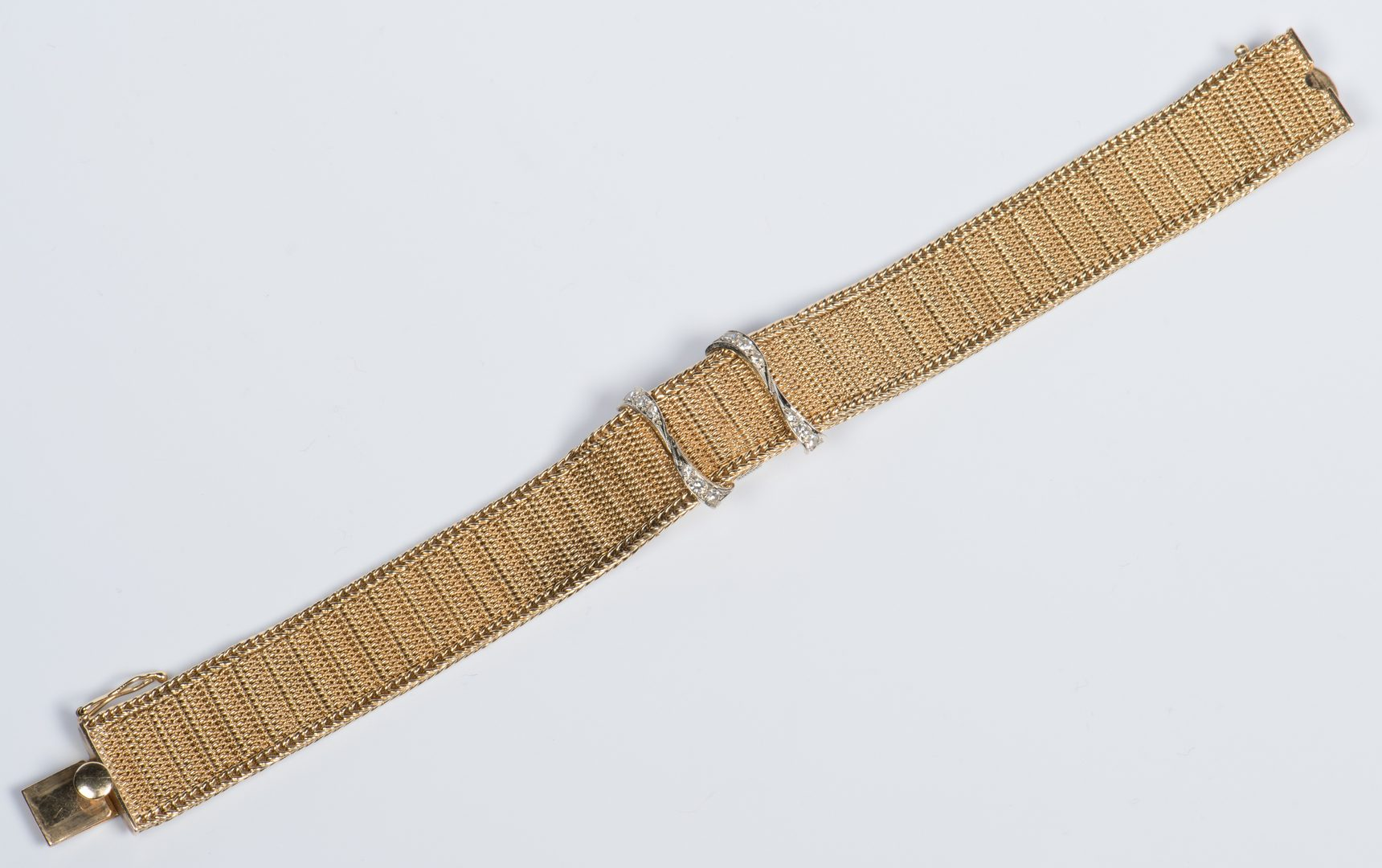 Lot 718: 14K and Diamond Bracelet Watch