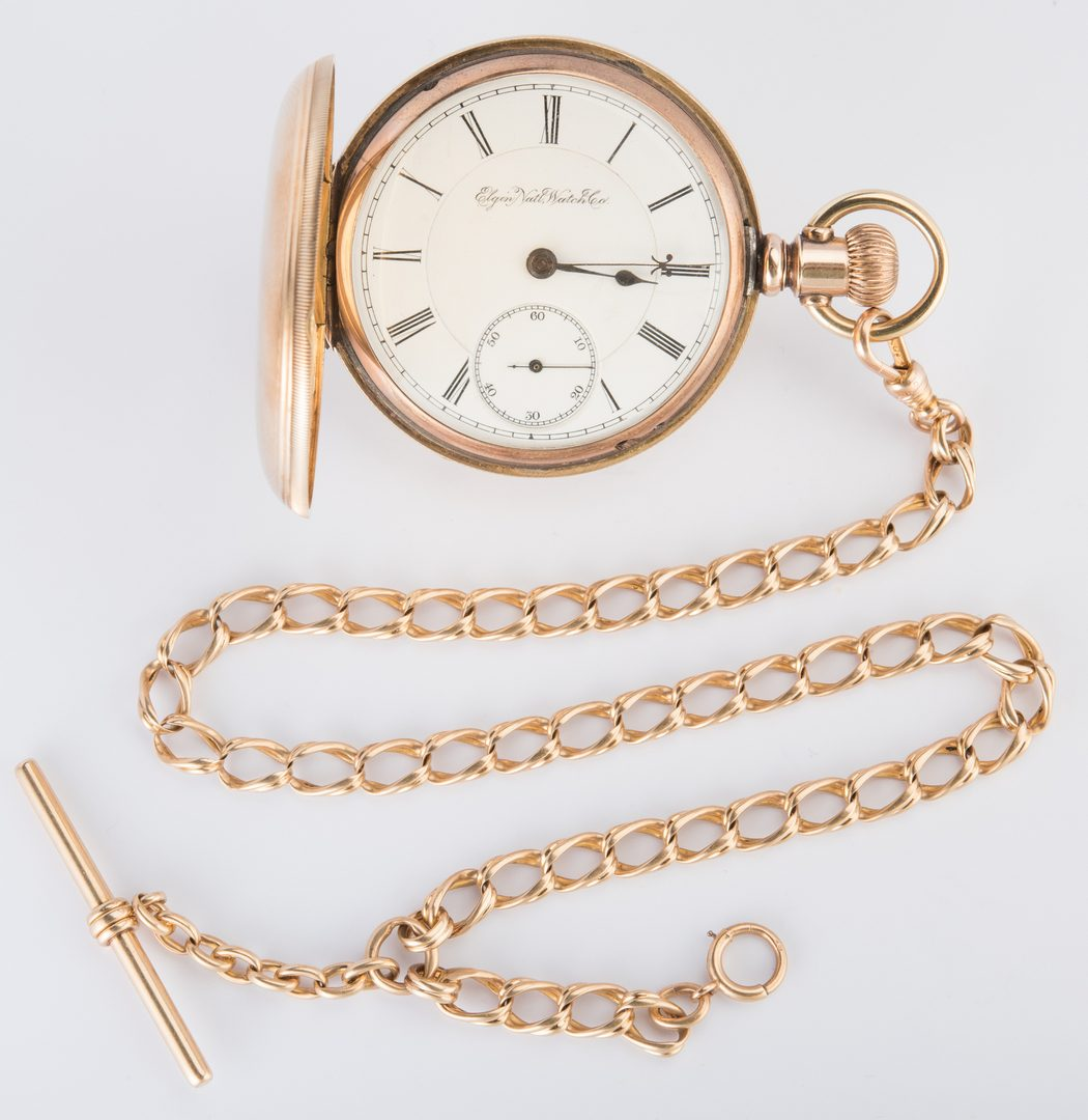 Lot 722: 14K Elgin Pocketwatch, 10K chain