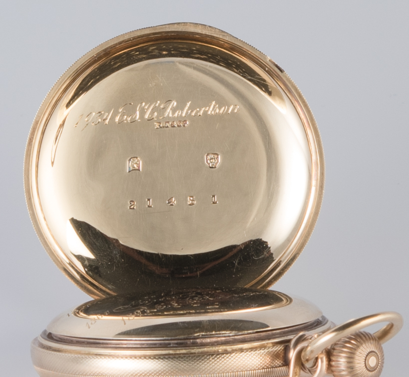 Lot 722: 14K Elgin Pocketwatch, 10K chain