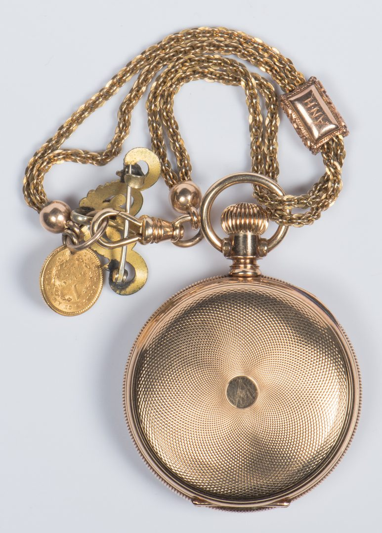 Lot 723: 14K Gold Waltham Watch w/ Chain