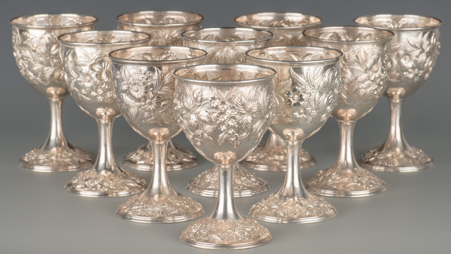 Lot 72: 10 Kirk Repousse Sterling Goblets