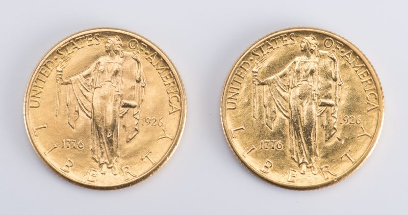 Lot 730: Pair 1926 Gold Sesquicentennial 2.5 Coins