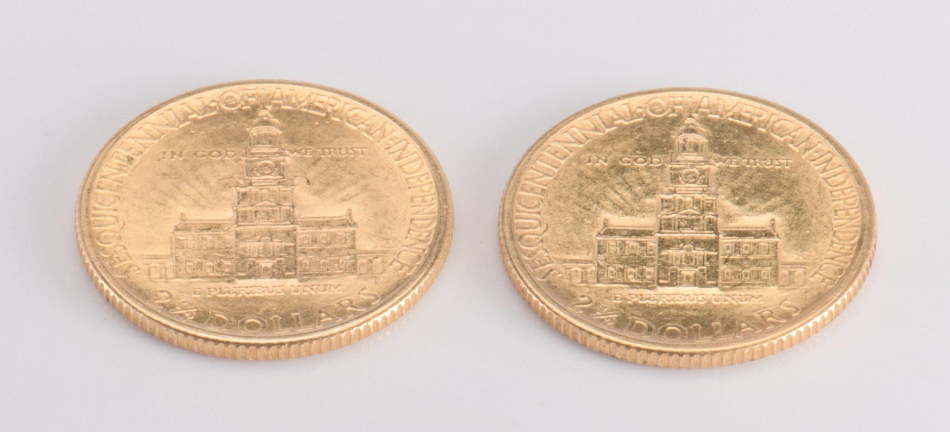 Lot 730: Pair 1926 Gold Sesquicentennial 2.5 Coins