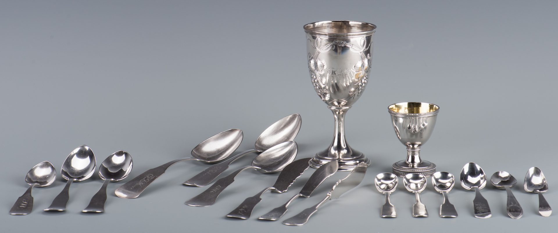 Lot 732: Assd. Coin silver inc. Southern and Goblet