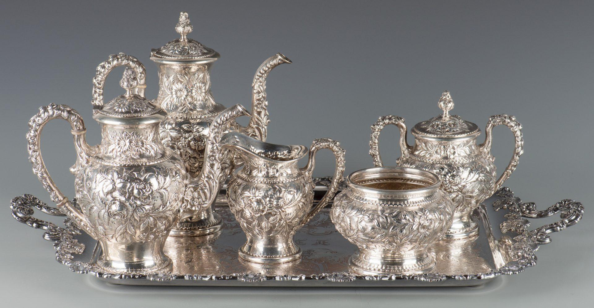 Lot 73: Kirk Repousse Sterling Tea Set, 5 pcs.