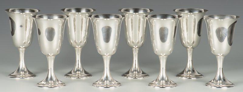 Lot 741: 8 Sterling Silver Goblets