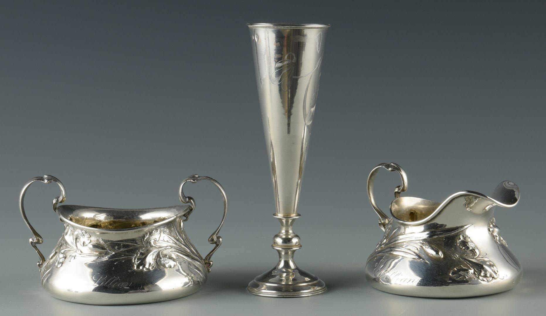 Lot 747: Shiebler cream/sugar, Russian Vase