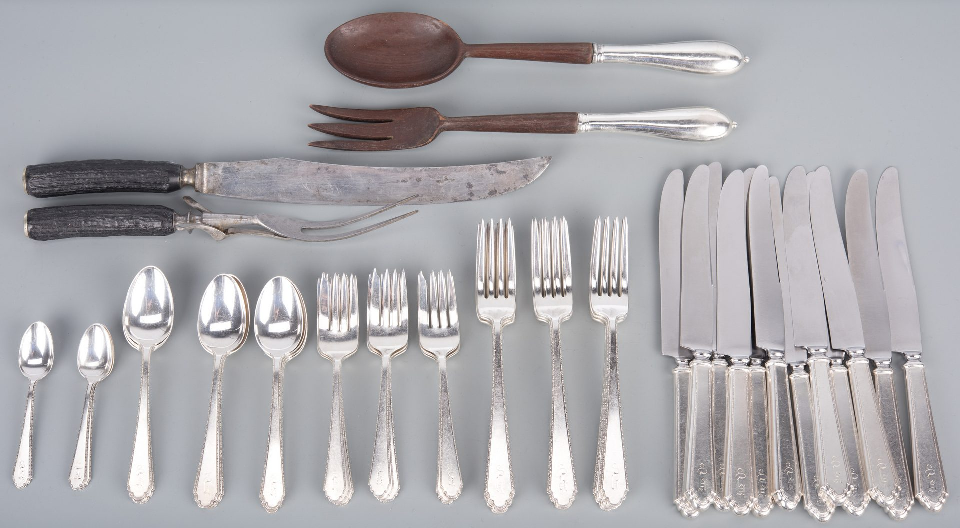 Lot 757: Lunt William & Mary Sterling Flatware, 57 pcs