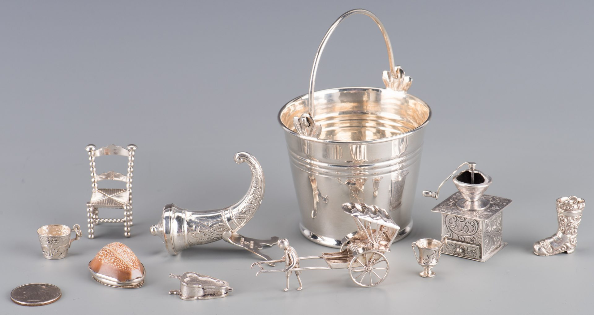Lot 760: 10 Miniature Silver Novelty Items