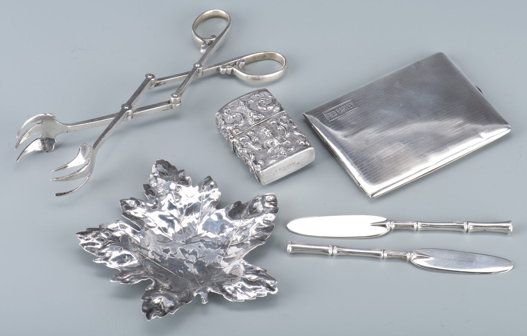 Lot 761: Cartier, Tiffany, Asian Silver: 6 novelties