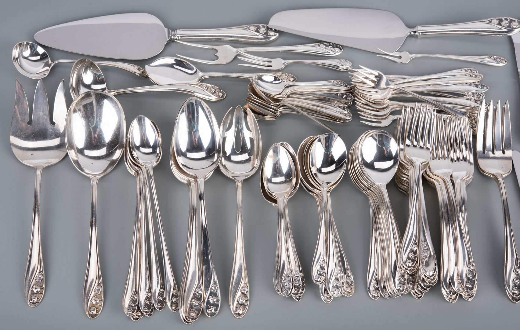 Lot 76: Gorham Lily of Valley Sterling Flatware, 143 pcs