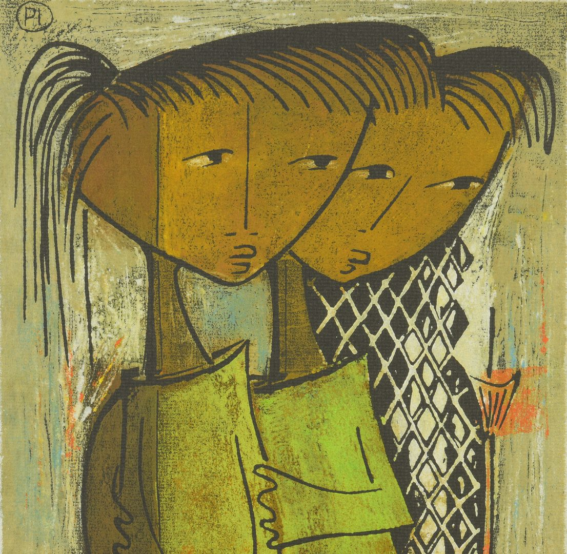 Lot 770: Angel Botello Linocut, 2 Girls