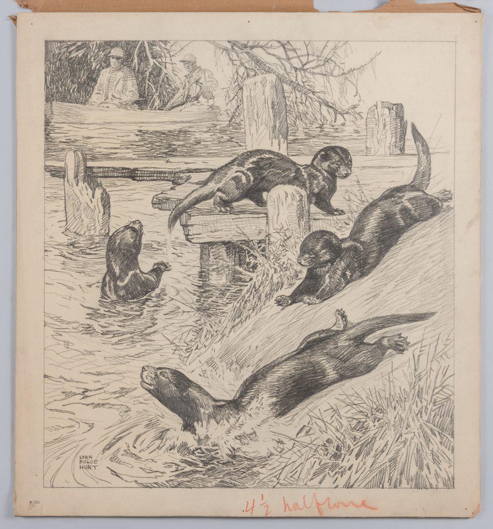 Lot 783: Lynn Bogue Hunt Wildlife Drawing, Otters