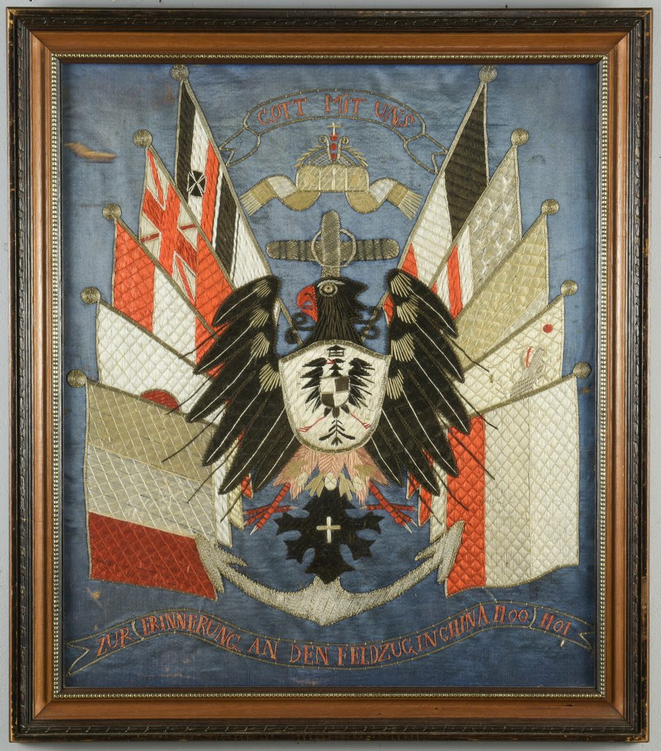Lot 788: German Boxer Rebellion Silk Embroidery Panel