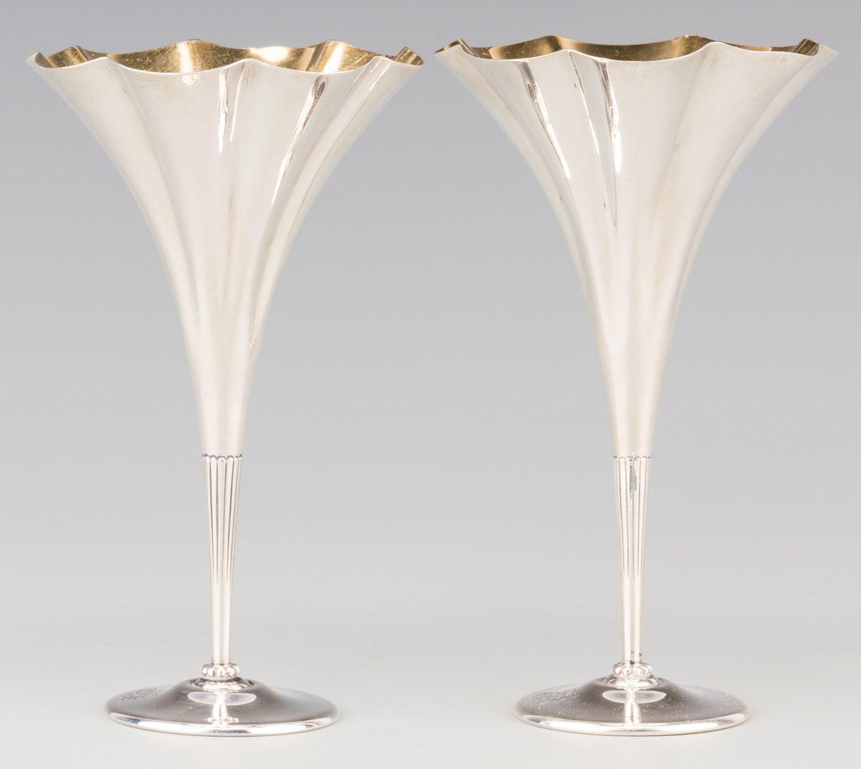 Lot 82: Pair Tiffany Sterling Trumpet Vases