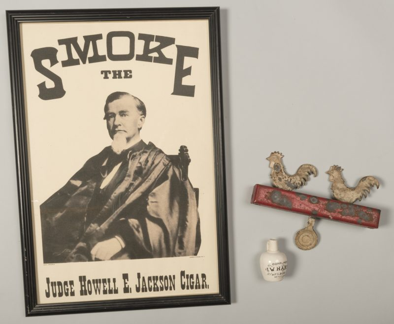 Lot 833: 2 Cigar, Whiskey Advertising Items plus Carnival Target