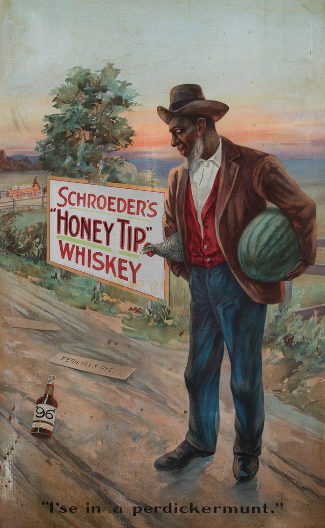Lot 835: Schroeder's Whiskey Adv. Sign