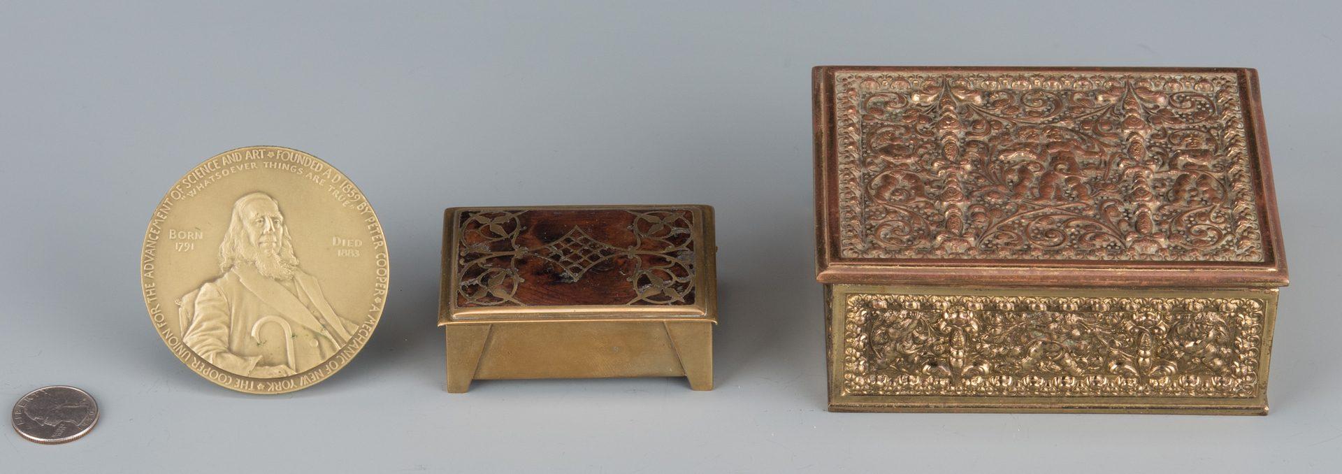 Lot 83: Erhard & Sohne boxes inc. Jugenstil plus Tiffany Medallion