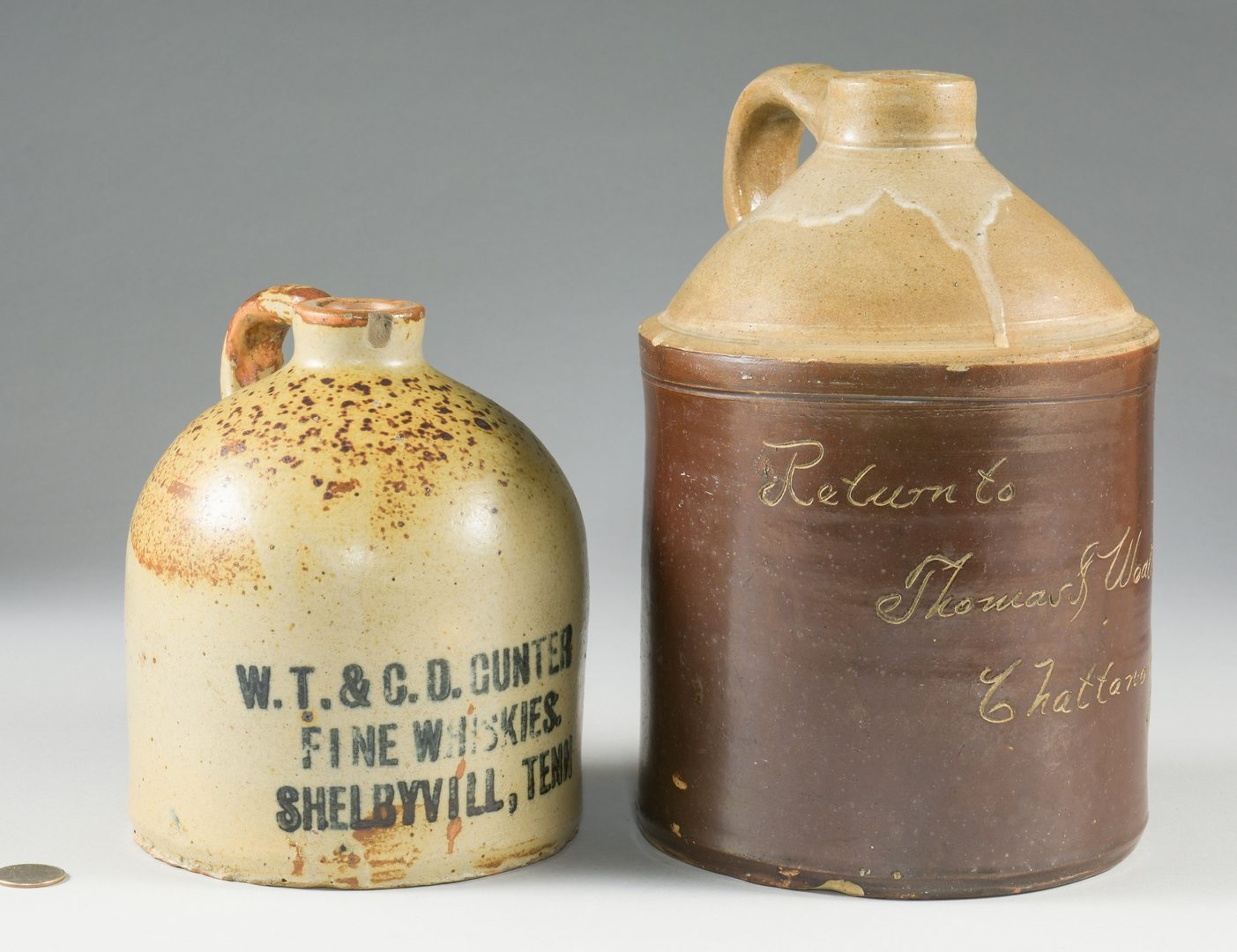Lot 844: 2 TN Advertising Whiskey Pottery Jugs