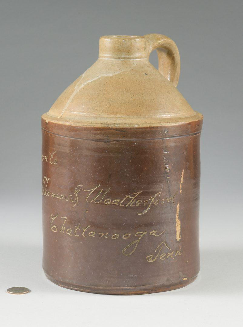 Lot 844: 2 TN Advertising Whiskey Pottery Jugs