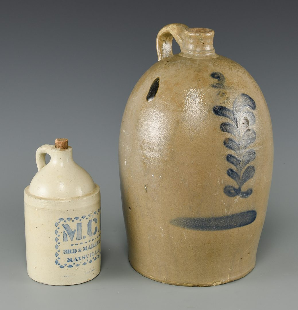 Lot 847: 2 Southern Stoneware Pottery Items, incl. M. C. Russsell