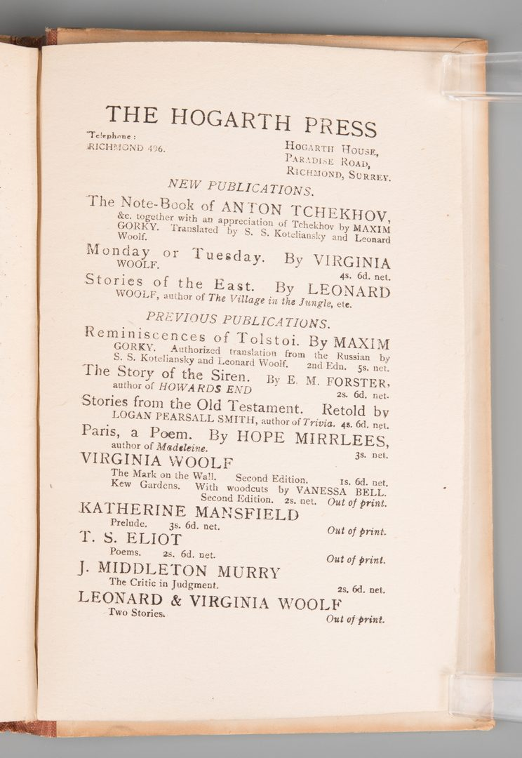 Lot 850: Two Hogarth Press Virginia Woolf First Editions