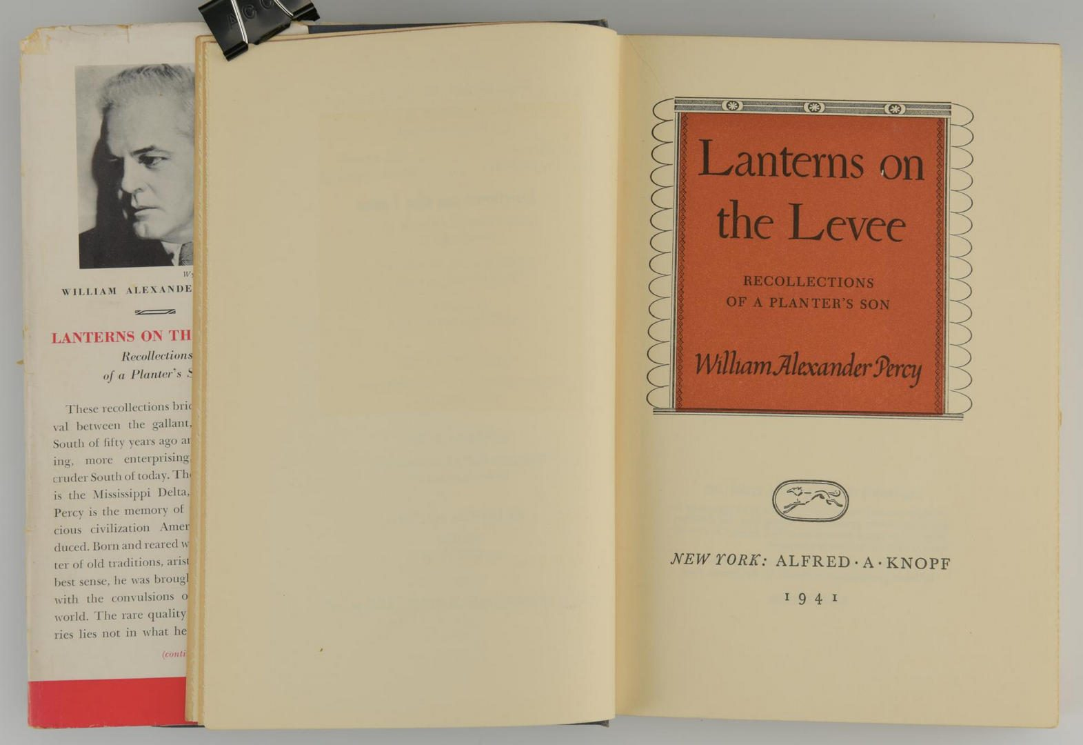 "Lot 853: William Percy ""Lanterns on the Levee"" signed 1st edition"