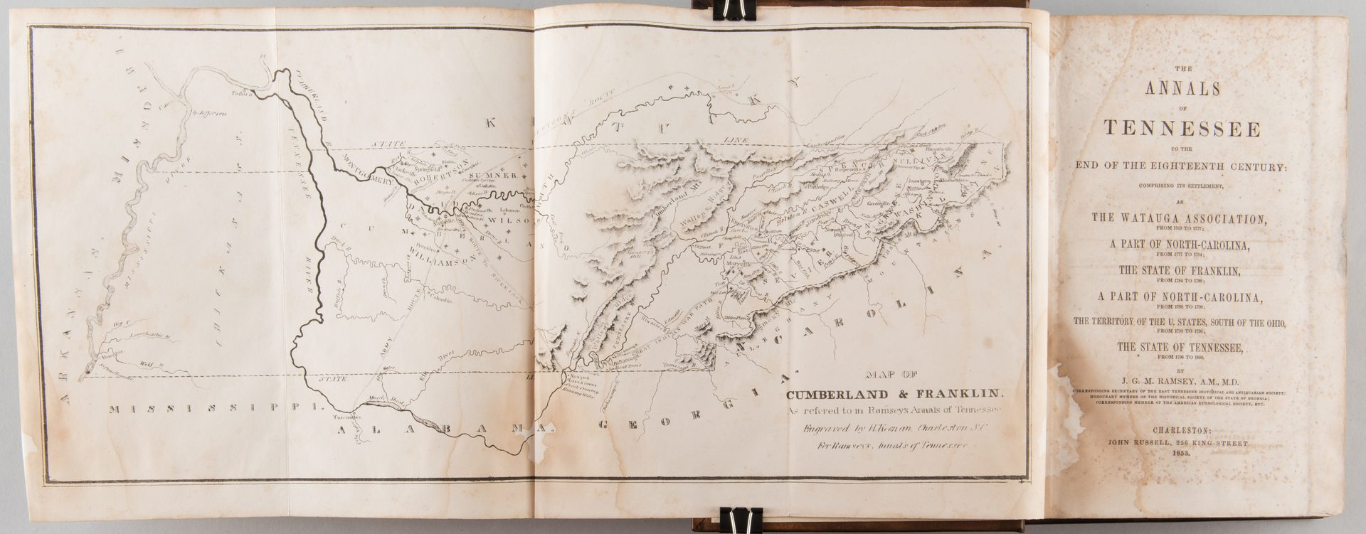 Lot 860: Ramsey's Annals of Tennessee 1853 Charleston inc. Map